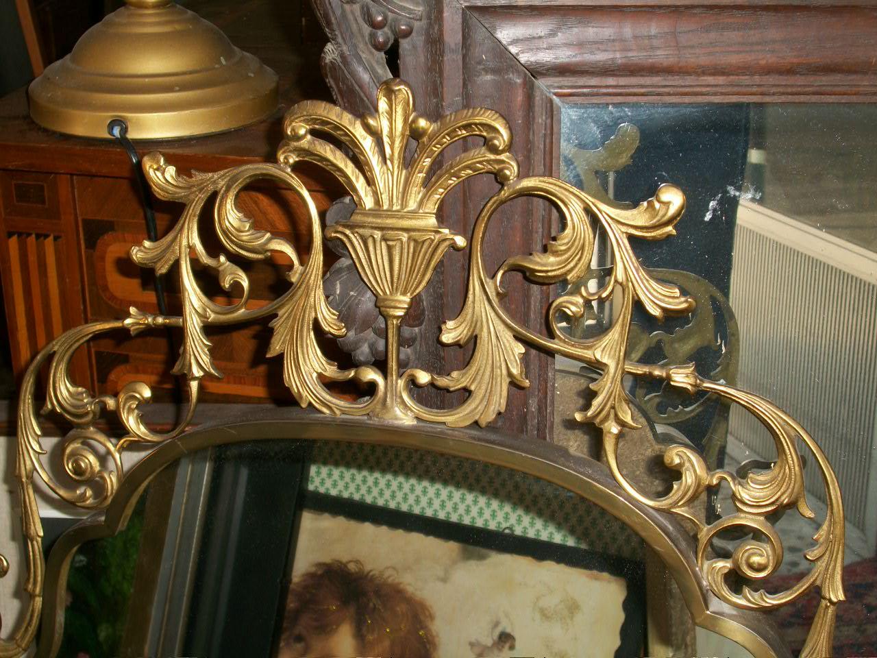 Antico Specchio Bronzo Dorato Stile Liberty 94x57 X